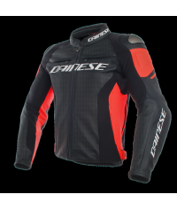 DAINESE RACING 3 LEATHER JACKET Black/Black/Fluo-Red
