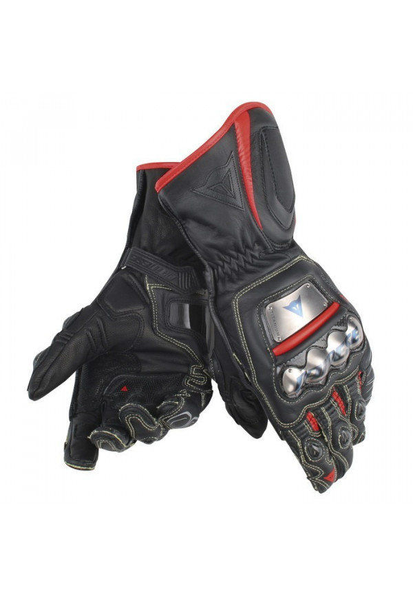 DAINESE FULL METAL D1 GLOVES Nero-Nero-Rosso Fluo