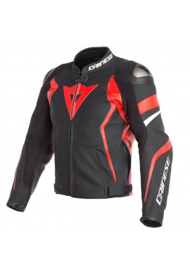 DAINESE AVRO 4 LEATHER JACKET Black/rosso/bianco